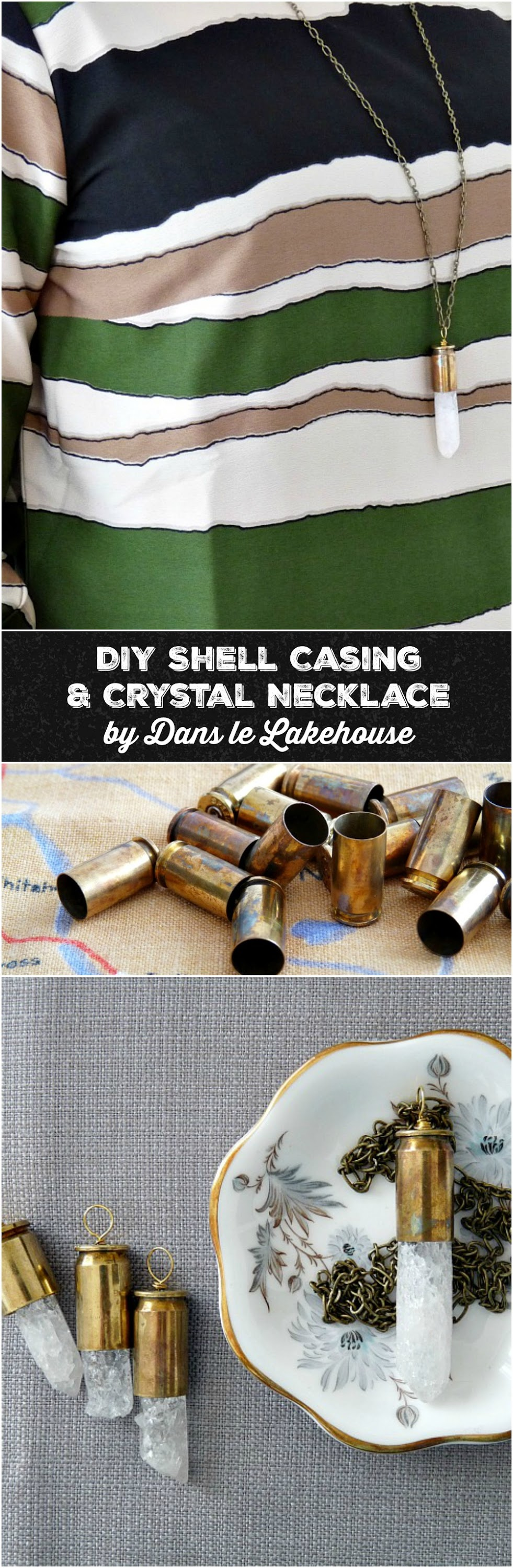 DIY shell casing and crysal necklace / Great step-by-step tutorial and this blog has lots of other DIY jewelry projects too!
