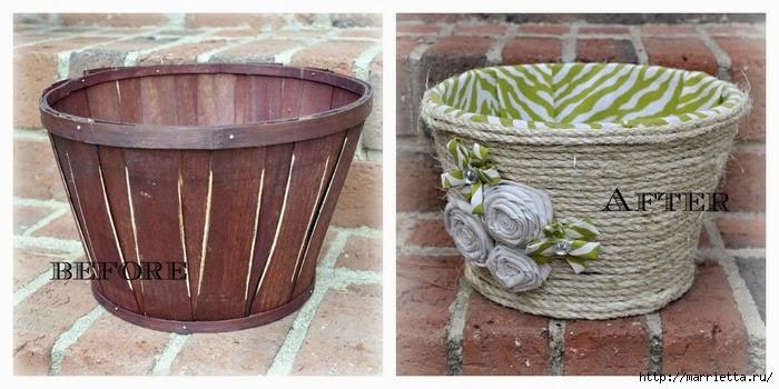 Превращение деревянной кадки в корзинку для рукоделия