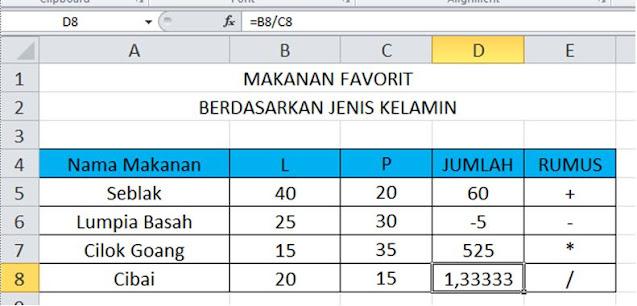 Operasi Perhitungan Dasar di Microsoft Excel