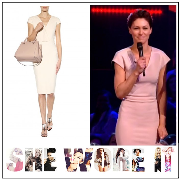 BBC, Concealed Zip Detail, Dress, Emma Willis, Knee Length, Pale Pink, Structured, The Voice, Victoria Beckham, Celebrity Fashion,