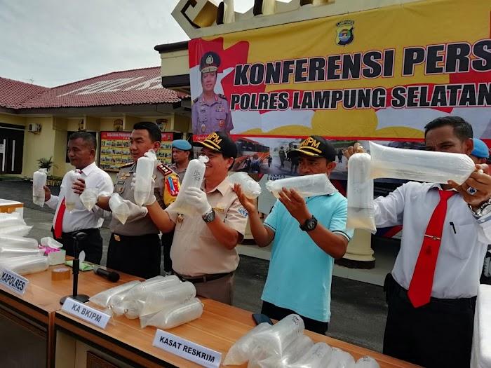 Polres Lampung Selatan Mengamankan Ribuan Baby Lobster Di Jalinsum Penengahan Lamsel.