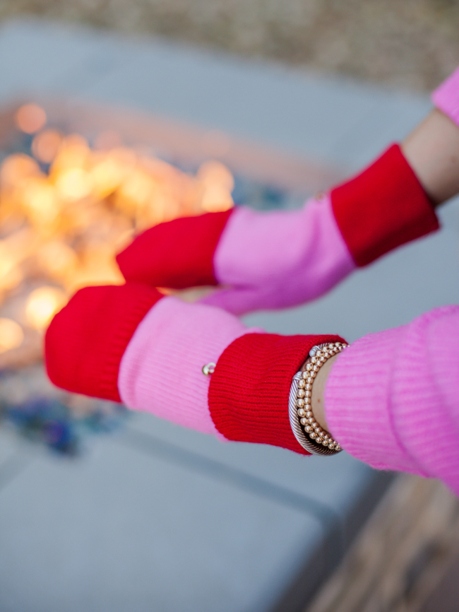 kate spade red and pink gloves