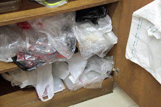 Stash of recyclable plastic bags.
