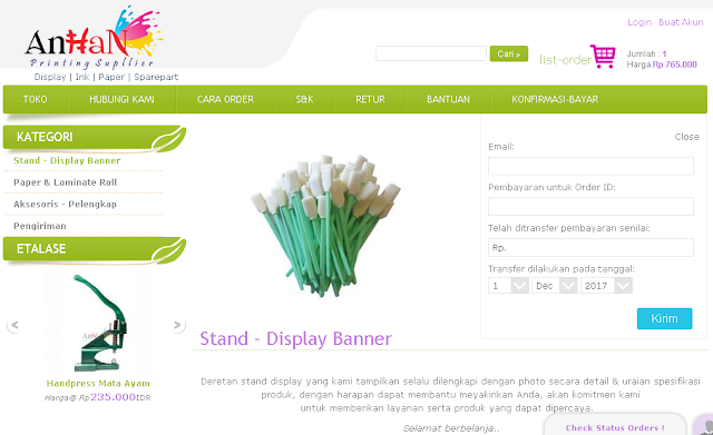 Supplier Standing Banner & Bahan Digital Printing