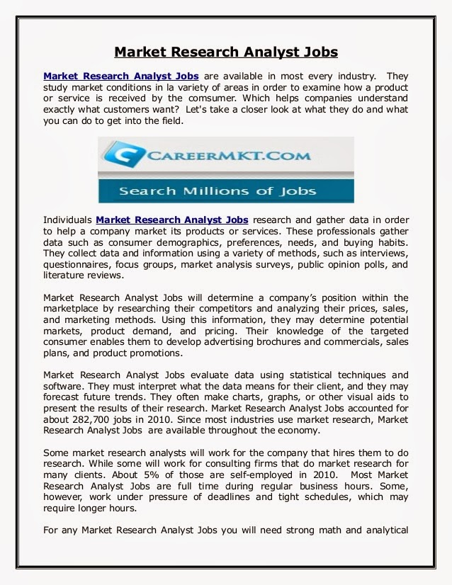 Marketing Research Analyst Resume research analyst resume research