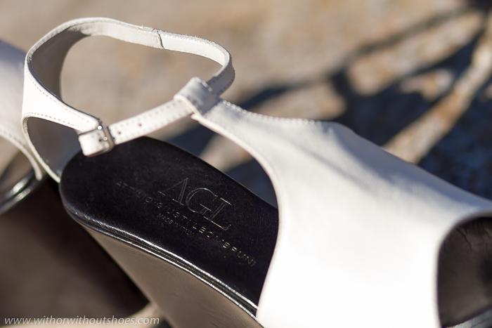 CUñas piel blancas plataforma cuero negro cuerda trenzada