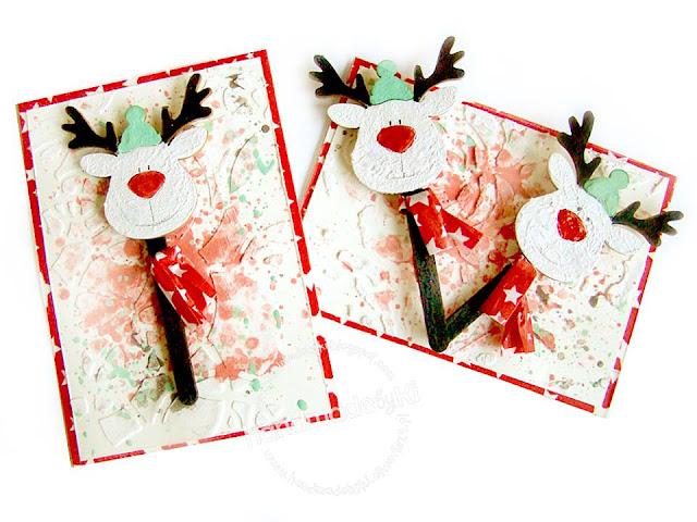 karteczki ozdobione Rudolfem
