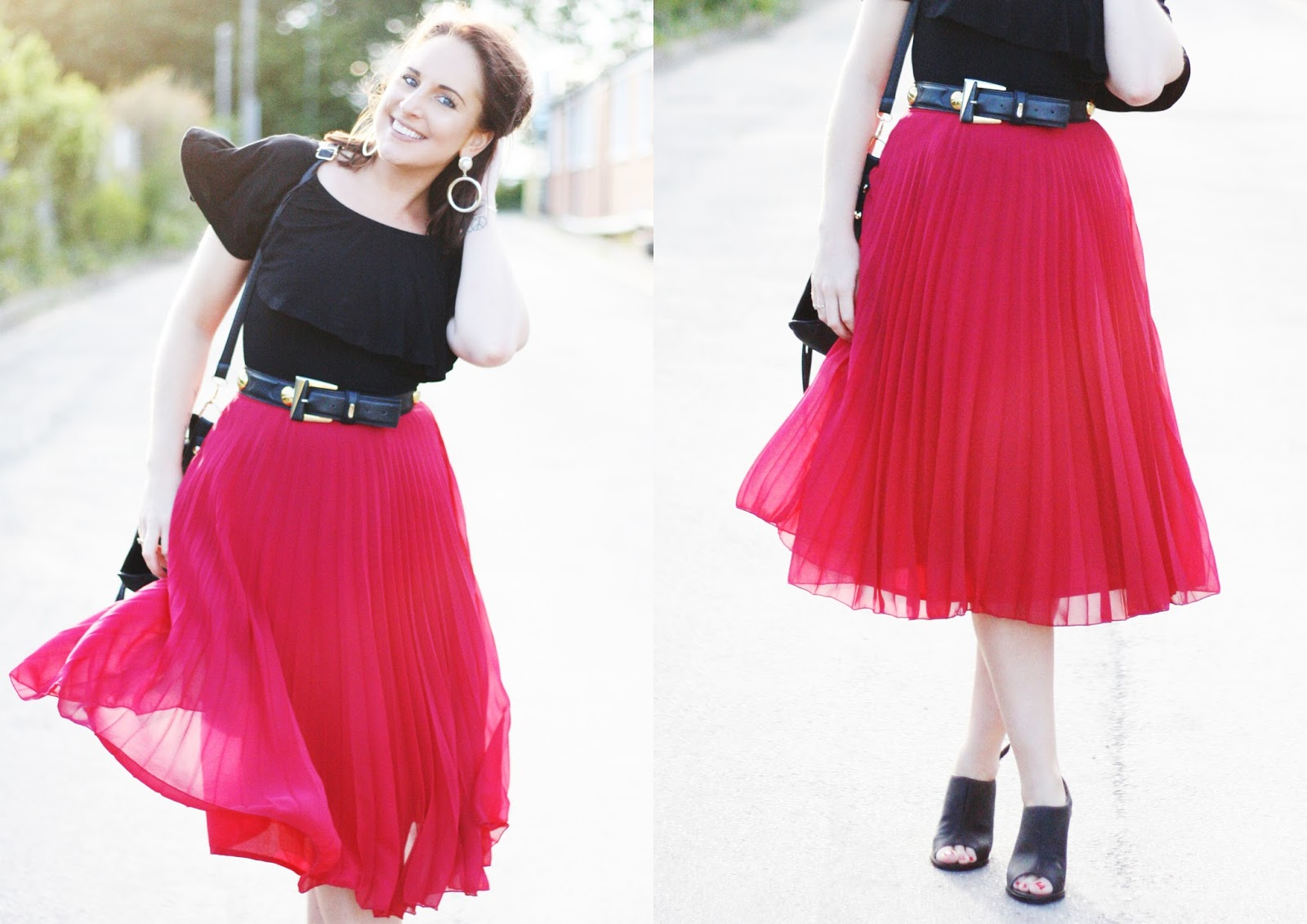 red pleated a-line skirt