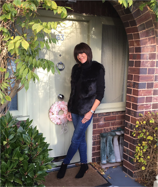 My Midlife Fashion, Faux Fur Gilet, Skinny Denim Jeans, Mango suede ankle boots, Primark polo neck