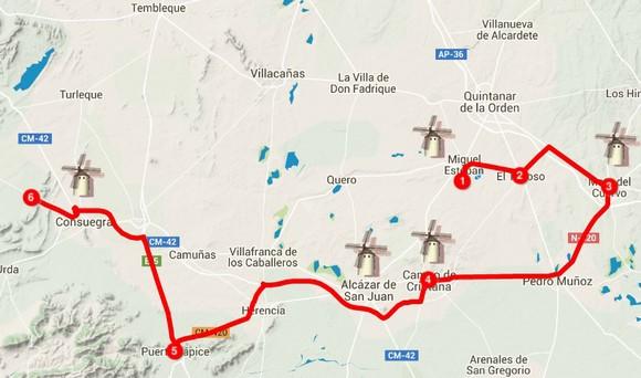 Mapa ruta turistica molinos de viento de Don Quijote, Castilla la Mancha