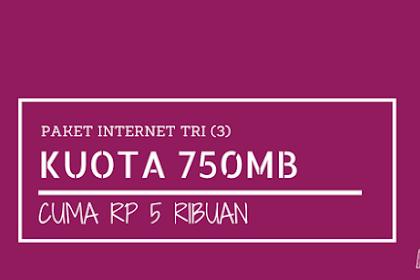 Paket 4G LTE Tri 750MB Cuma 5 ribu (1 hari), Caranya Begini?