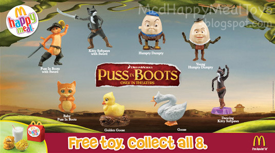 Puss In Boots Toys Happy Meal Toys