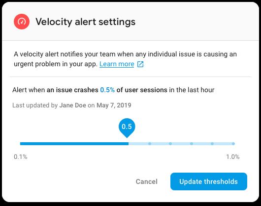 Velocity alert settings