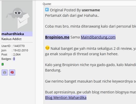 komentar di forum untuk mendapatkan pengunjung