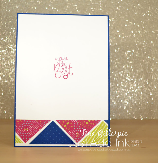 scissorspapercard, Stampin' Up!, Just Add Ink, Animal Expedition DSP, Best Route DSP, Label Me Pretty, Shimmer Paint