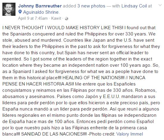 Unbelievable ► This Spanish guy apologized to the Filipinos for the 300 years of abuse and murder of his ancestors!