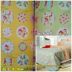 Sprei Custom Katun Lokal Dewasa Floral Bucket Bunga Floral Pattern Peach Kuning