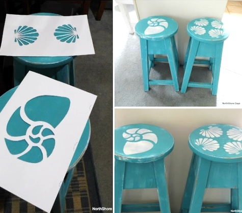 stenciled beach stools
