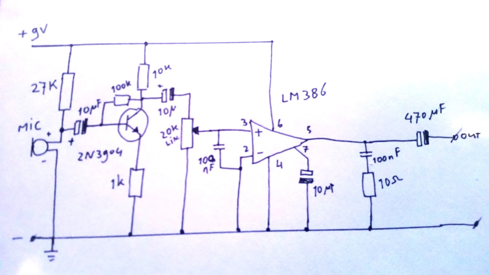 Eddy Bergmancom Led Oscilloscope With 100 Leds Electret Microphone Amplifier I Build It A 2n3904 Transistor As Pre Amp For The And Then Lm 386 To Amplify Signal Heres Little Sketch Of Circuit