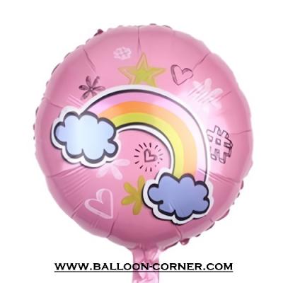 Balon Foil Bulat Awan Pelangi (Pink)