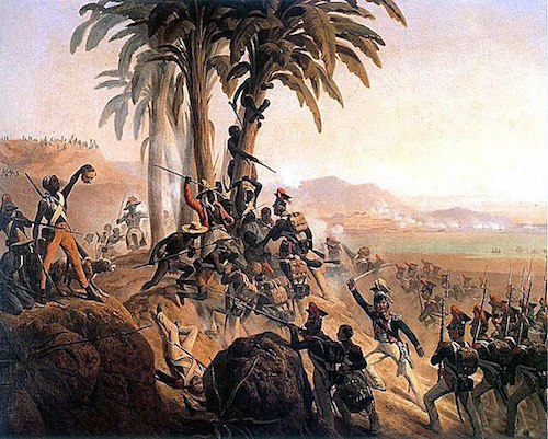A painting of the Haitian Revolution: Battle of San Domingo by January Suchodolski, 1845