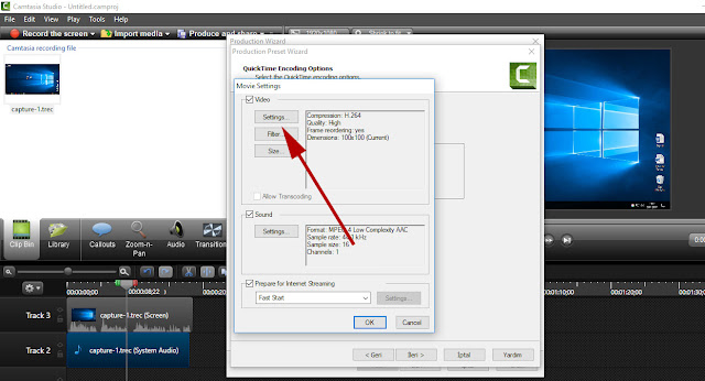 camtasia quicktime setting