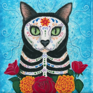 cat sugar skull magnet