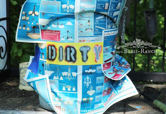 Reclaimed Potting Bench Dirty Dirt Soil Can, Bliss-Ranch.com
