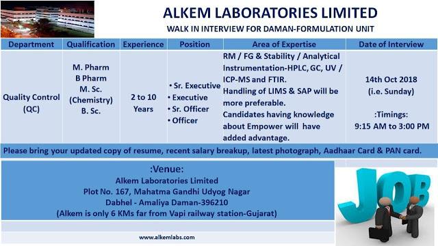 Alkem Laboratories Walk In Interview For M.Pharm, B.Pharm, M.Sc, B.Sc on 14 October