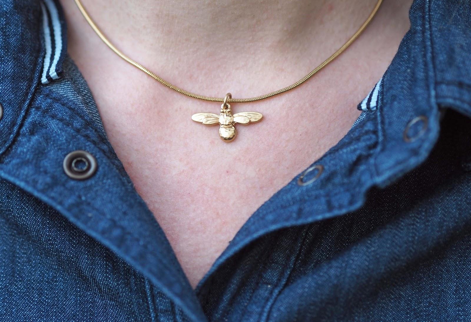 Danon mini gold honey bee necklace