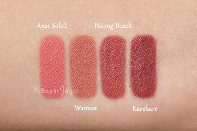 Nars Velvet Lip Liners Anse Soleil Waimea Karekare Patong Beach Swatches