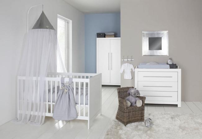 dormitorios de beb s en blanco y gris dormitorios. Black Bedroom Furniture Sets. Home Design Ideas