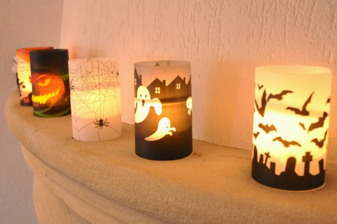 les passions de viedefun diy photophores halloween en papier huil. Black Bedroom Furniture Sets. Home Design Ideas