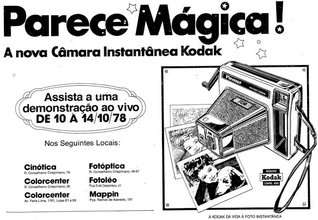 Propaganda antiga da Kodak com apresentação de sua câmera fotográfica com revelação instantânea de fotos