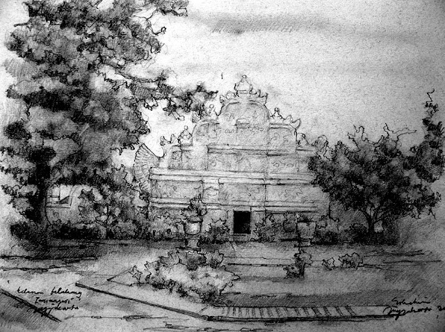 sketsa halaman belakang taman sari