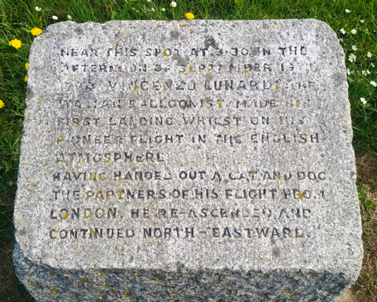 The commemoration stone at Balloon Corner, Welham Green Image by the North Mymms History Projected released via Creative Commons BY-NC-SA 4.0