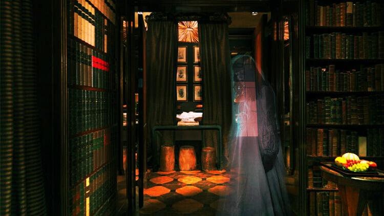 Uma biblioteca assustadora com o espítito de uma moça