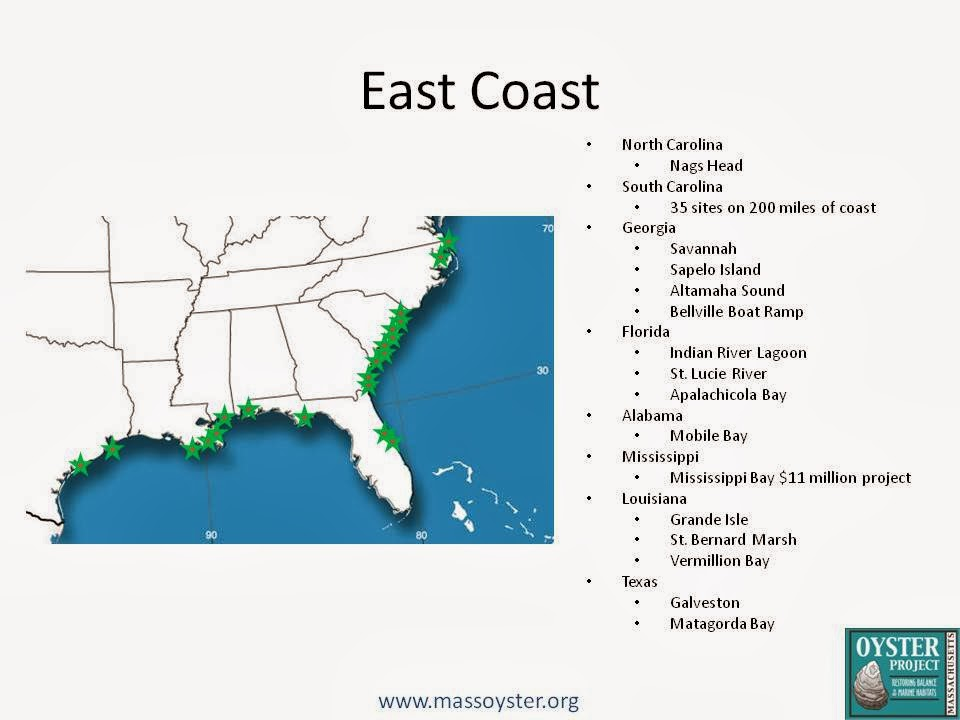 Oyster Restoration Map US Florida Texas