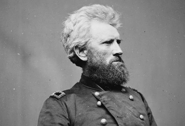 Portrait of Brigadier General Robert Huston Milroy, officer of the Union Army. Milroy most noted for his defeat at the Second Battle of Winchester in 1863. He later became Superintendent of Indian Affairs in the Washington Territory. Milroy died in Olympia, Washington in 1890, at the age of 73.