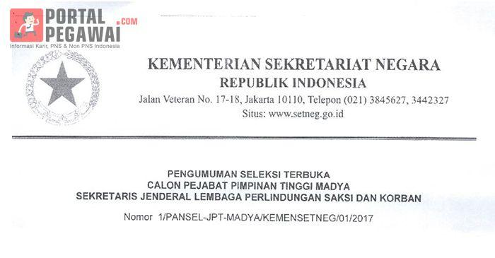 Seleksi Terbuka Kementerian Sekretariat Negara, Calon Pejabat Pimpinan Tinggi Madya Sekretaris Jenderal LPSK