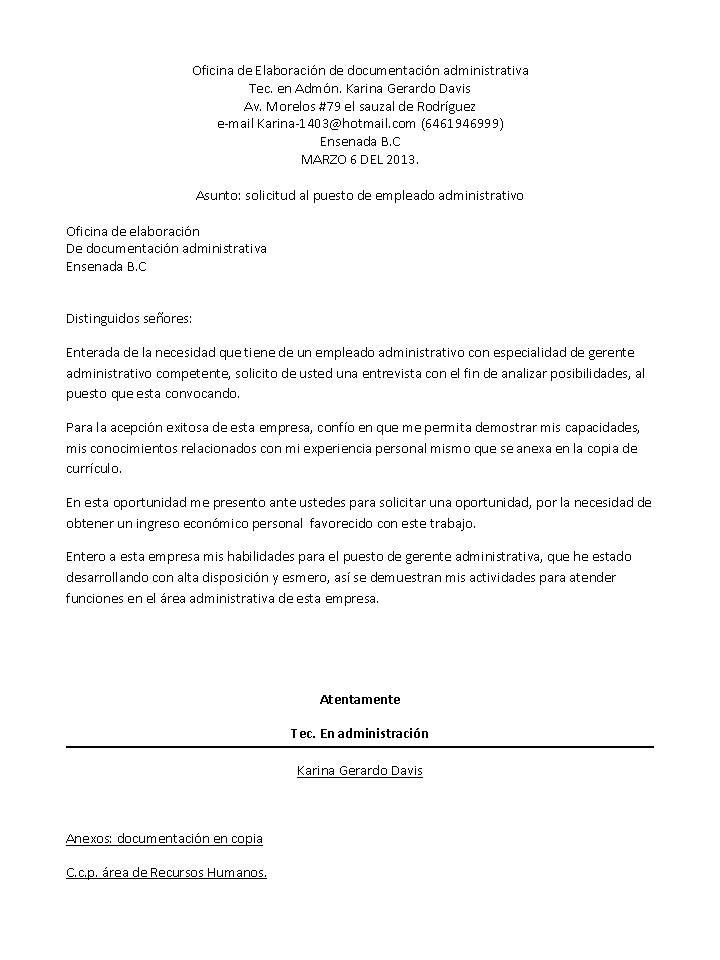 Karina Gerardo carta de solicitud al puesto gerente administrativo