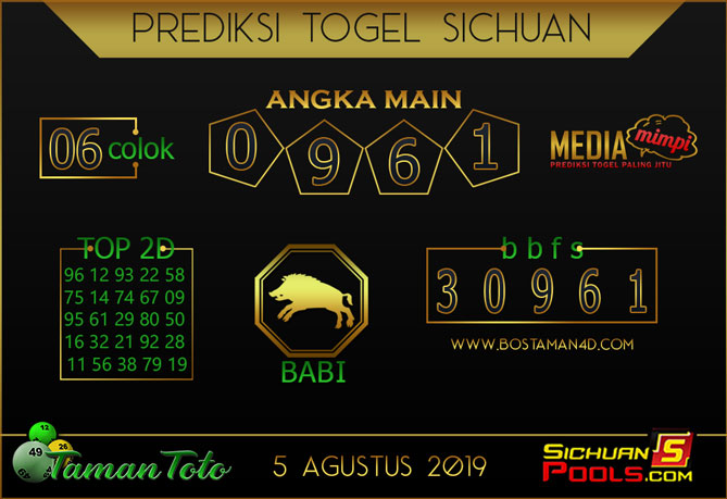 Prediksi Togel SICHUAN TAMAN TOTO 05 AGUSTUS 2019