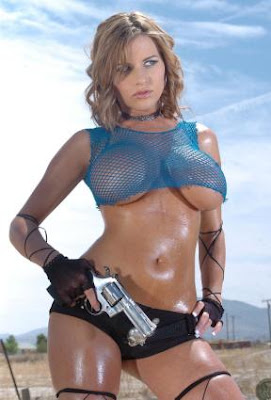 Bikini girl with a gun