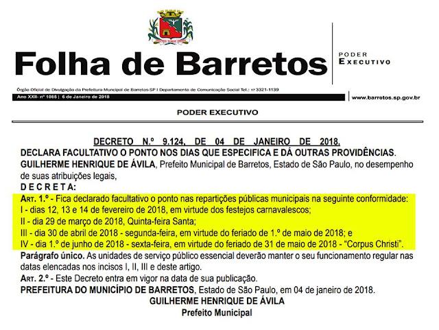 """GUILHERME ÁVILA DECRETA PONTOS FACULTATIVOS E OFICIALIZA QUATRO """"FERIADÕES"""" NO SERVIÇO PÚBLICO PARA OS PRÓXIMOS TRÊS MESES EM BARRETOS (CULTURA FM DE GUAIRA-SP)"""