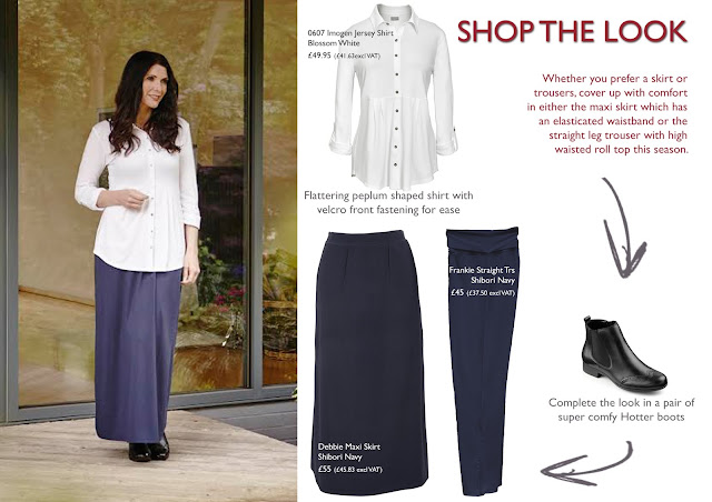 Shop the Look - white shirt with navy maxi skirt easy to dress