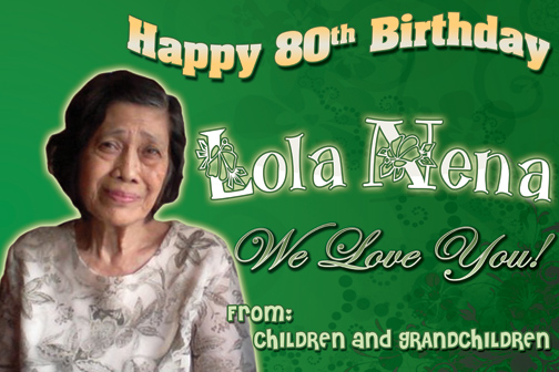 Happy 80th Birthday Lola Nena Tambay Arts