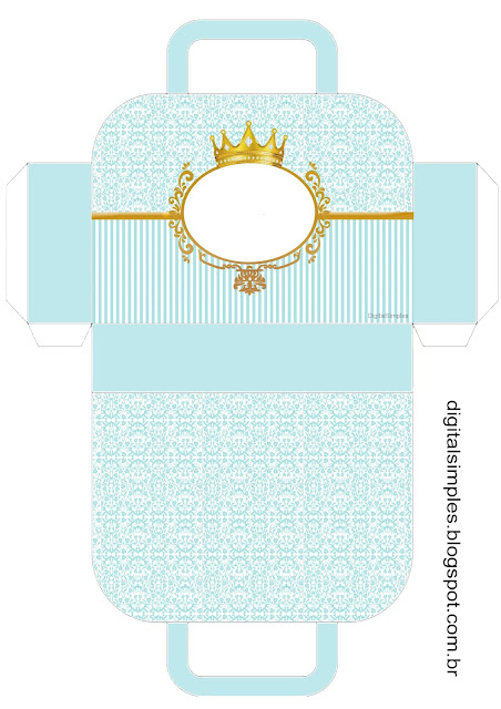 Golden Crown in Light Blue: Free Printable Suitcase Favor Box.