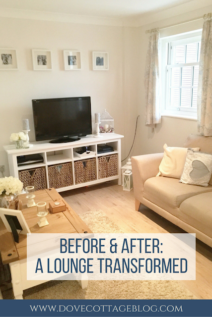 Before and after pictures showing how we transformed our dingy, small brightly-coloured lounge into a bright and airy living room using neutral coloured paint and accessories