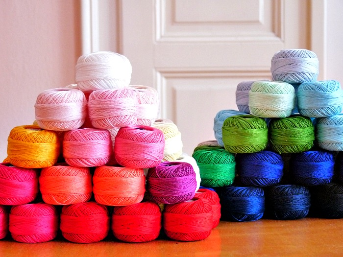 Stack of embroidery thread