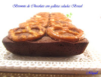 Brownie de chocolate con galletas saladas Brezel